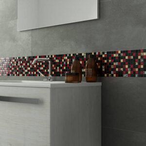 30x30 Glasmozaïek/Steenmozaïek - Zwart Rood Motief