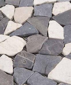 Mozaiek Gebroken Steen Zwart Wit