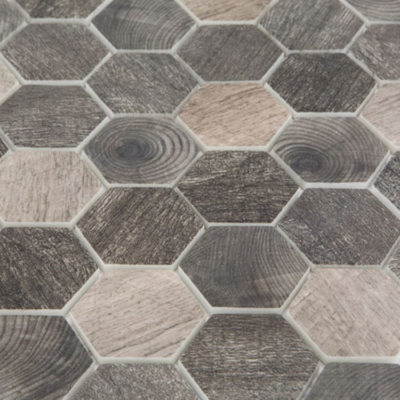 Mozaiek Hout Donkergrijs