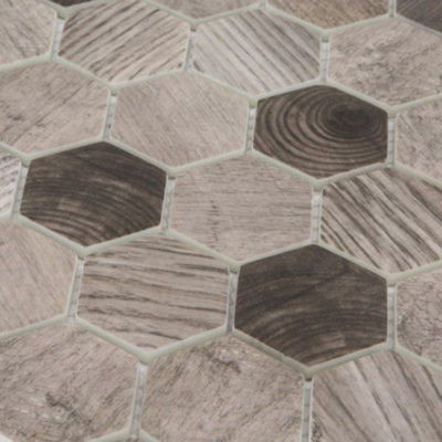 Mozaiek Hout Lichtgrijs
