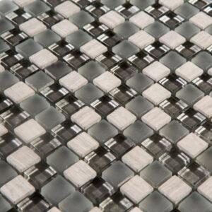 Glas- en Natuursteenmozaïek - Lumille Grigio Wit Grijs