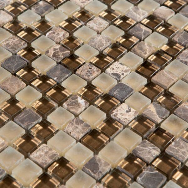 Glas- en Natuursteenmozaïek - Lumille Mokka Brons Bruin CU