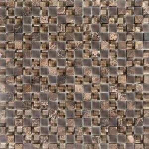 Glas- en Natuursteenmozaïek - Lumille Visone Lichtgrijs Bruin