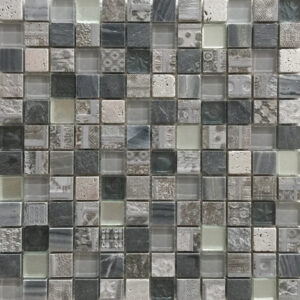 Glas- en Natuursteenmozaïek - Seafoam Zilver Grijs