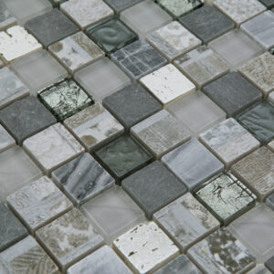 Glas- en Natuursteenmozaïek - Seafoam Zilver Grijs CU