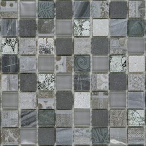 Glas- en Natuursteenmozaïek - Seafoam Zilver Grijs CU2