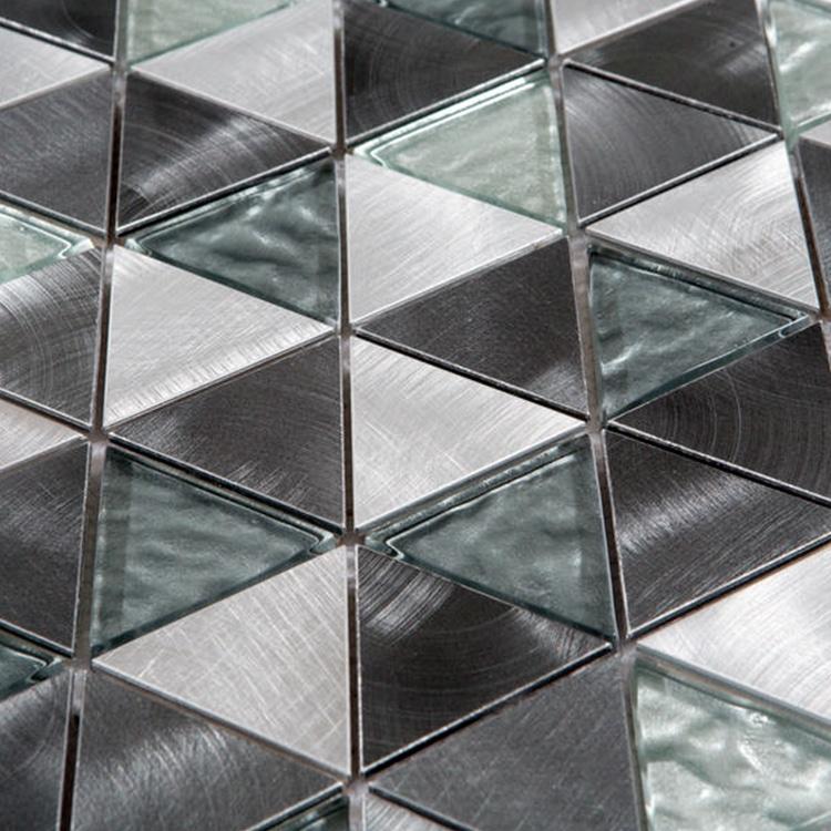 Glas- en Metaalmozaiek - Trinity Silver Zilver CU