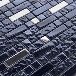 Natuursteenmozaïek - Multimix Zwart Zilver CU