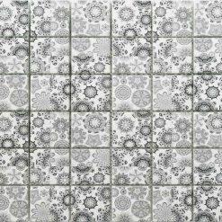 Natuursteenmozaïek - Patroon Dandelion Wit 30x30